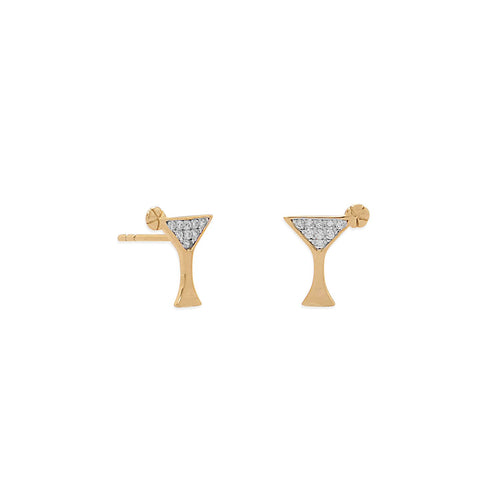 14 Karat Gold Plated CZ Martini Stud Earrings - LazerPoints.com