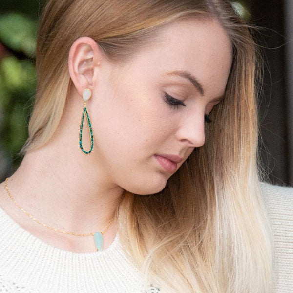 14 Karat Gold Plated Rainbow Moonstone and Turquoise Chip Post Earrings - LazerPoints.com