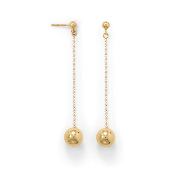 14 Karat Gold Plate Bead Drop Earrings - LazerPoints.com