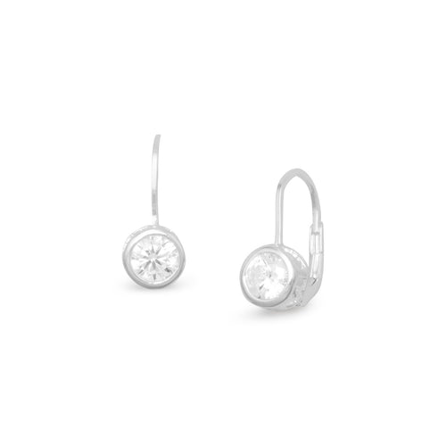 Bezel CZ Lever Earrings - LazerPoints.com