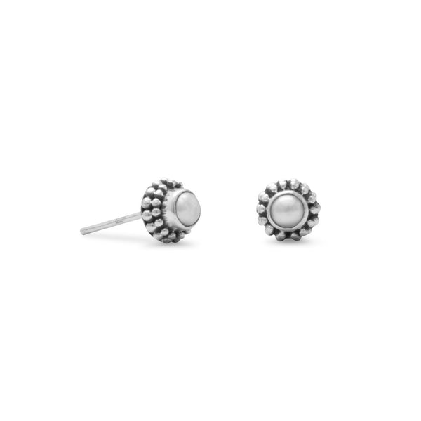 4mm White Cultured Freshwater Pearl Bead Post Earrings - LazerPoints.com
