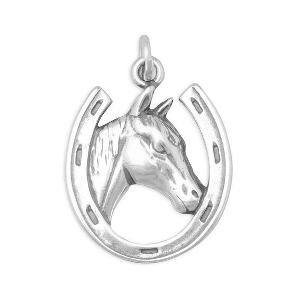 Horse in Horseshoe Charm