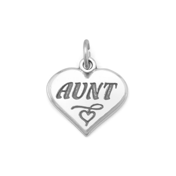 "Oxidized Heart Charm with ""Aunt"" - LazerPoints.com"
