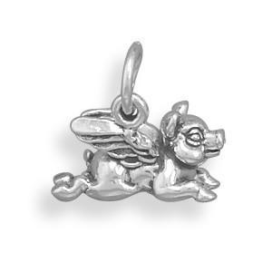 Oxidized Flying Pig Charm - LazerPoints.com