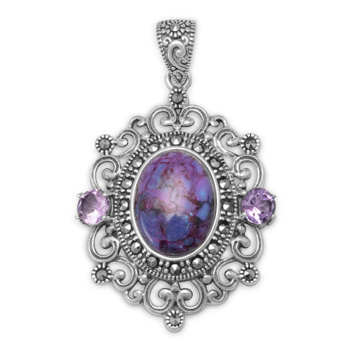 Ornate Marcasite and Reconstituted Purple Turquoise Pendant - LazerPoints.com