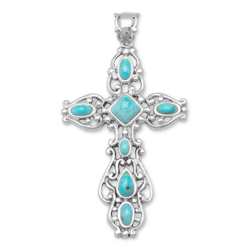 Ornate Oxidized Reconstituted Turquoise Cross Pendant - LazerPoints.com
