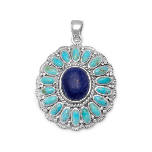 Oxidized Reconstituted Turquoise and Lapis Flower Pendant - LazerPoints.com