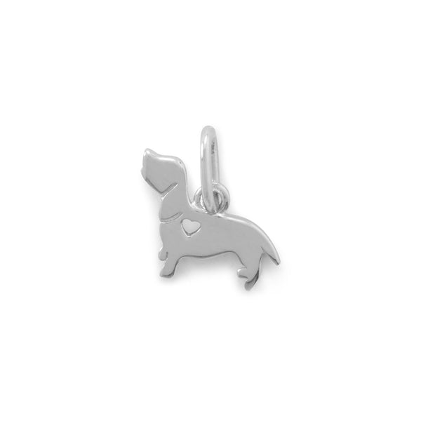 Rhodium Plated Darling Dachshund Dog Charm - LazerPoints.com