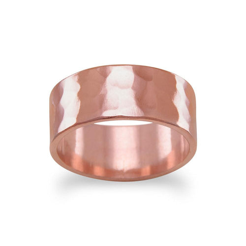 8mm Solid Copper Hammered Ring - LazerPoints.com