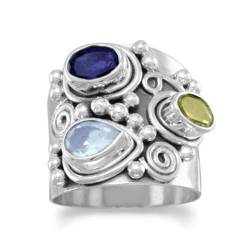 Ornate Multistone Ring - LazerPoints.com