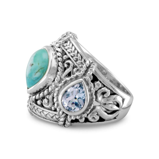 Blue Topaz and Reconstituted Turquoise Ring - LazerPoints.com