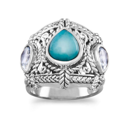 Rhodium Plated Turquoise Wrap Ring