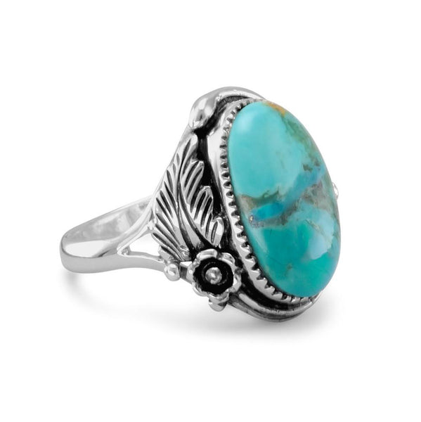 Oval Reconstituted Turquoise Floral Design Ring - LazerPoints.com