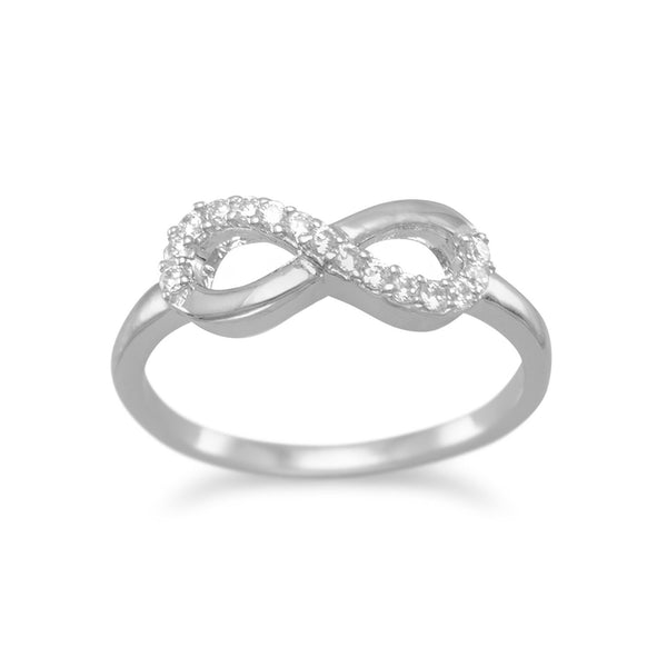 Rhodium Plated CZ Infinity Ring - LazerPoints.com