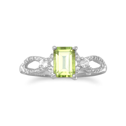 Rhodium Plated Peridot and White Topaz Ring - LazerPoints.com