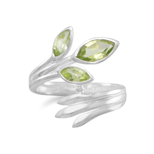 Fan Design Marquise Peridot Wrap Ring - LazerPoints.com