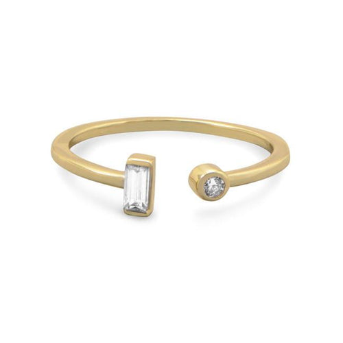 14 Karat Gold Plated Open Design CZ Ring - LazerPoints.com