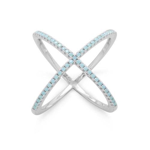 Rhodium Plated Criss Cross 'X' Ring with Blue CZs - LazerPoints.com