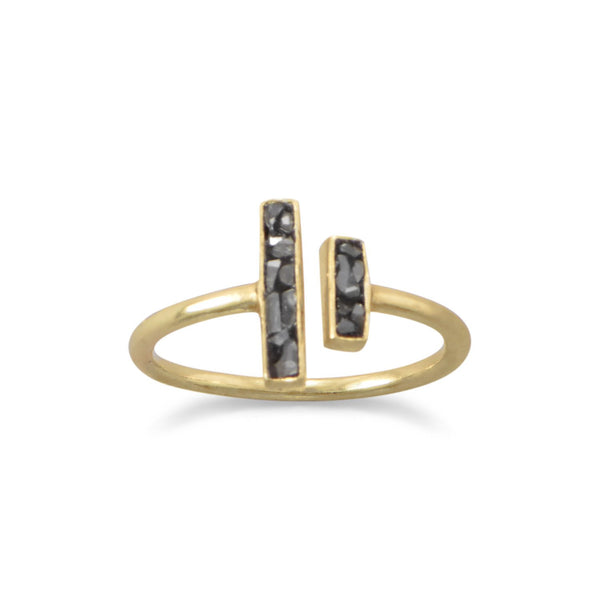 14 Karat Gold Plated and Diamond Chip Ring - LazerPoints.com