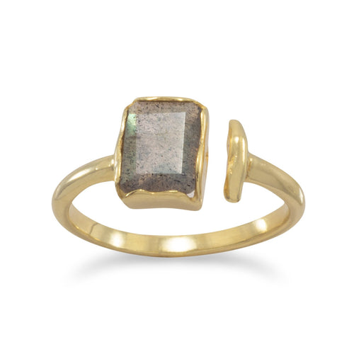18 Karat Gold Plated Rectangular Labradorite Ring - LazerPoints.com