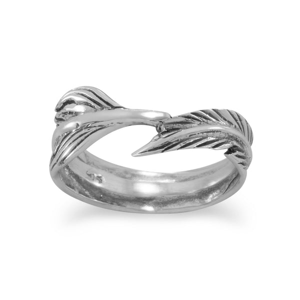 Oxidized Feather Wrap Ring - LazerPoints.com