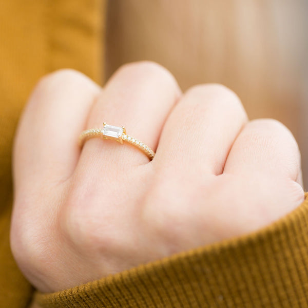 14 Karat Gold Plated Rectangle CZ Ring - LazerPoints.com