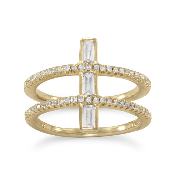 14 Karat Gold Plated CZ Double Cross Ring - LazerPoints.com