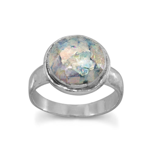 Round Ancient Roman Glass Ring with Hammered Band - LazerPoints.com