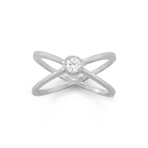 Rhodium Plated CZ Criss-Cross Ring - LazerPoints.com