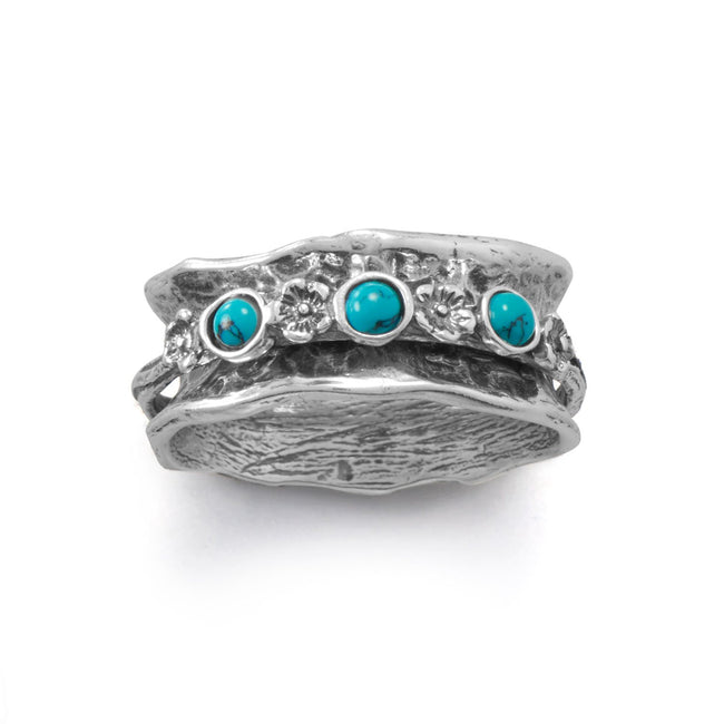 Oxidized Spin Ring with Reconstituted Turquoise Stones - LazerPoints.com