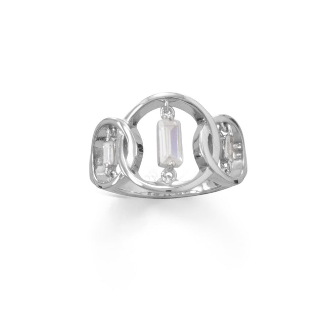 Rhodium Plated Triple Circle Suspension CZ Ring