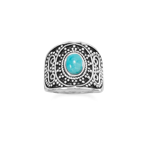 Oxidized Beaded Design Reconstituted Turquoise Ring