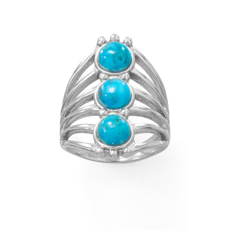 Oxidized Cultured Freshwater Pearl and Reconstituted Turquoise Ring