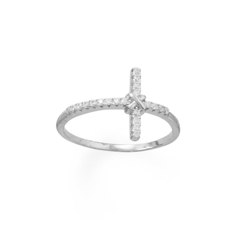 Rhodium Plated CZ Sideways Cross Ring - LazerPoints.com