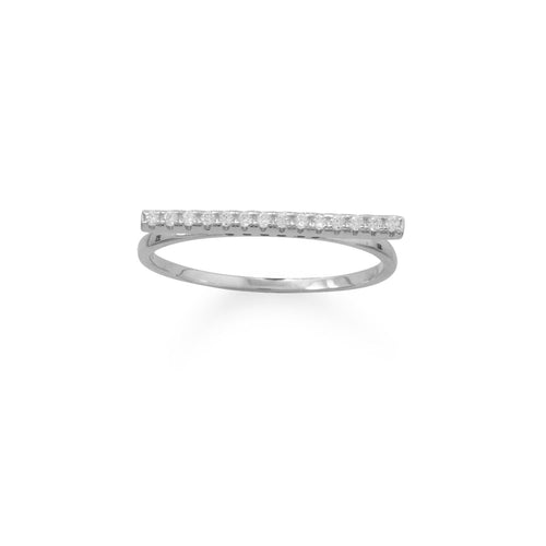 Rhodium Plated CZ Bar Ring - LazerPoints.com