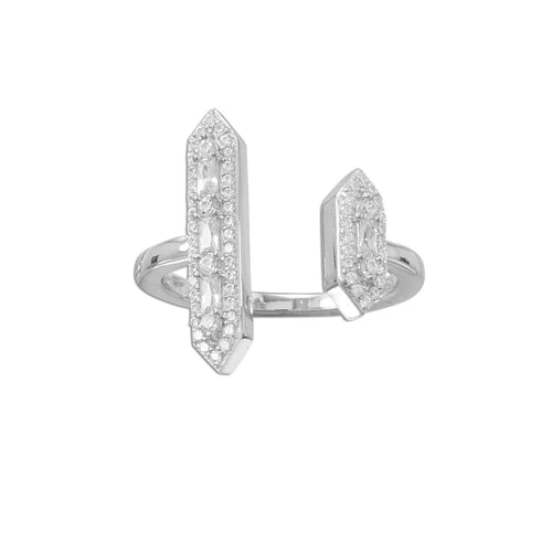 Rhodium Plated CZ Double Bar Ring - LazerPoints.com