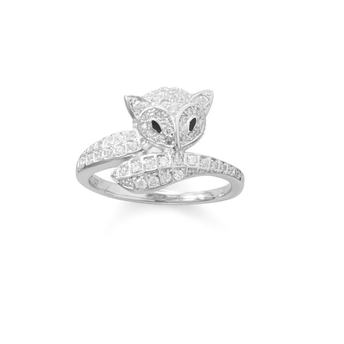 Rhodium Plated Cute Fox CZ Ring - LazerPoints.com
