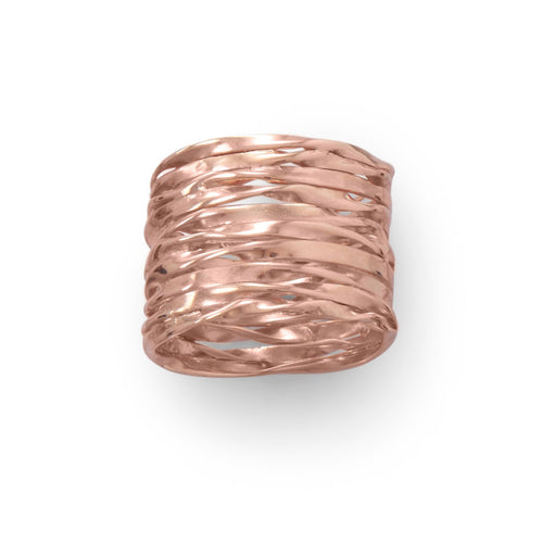 14 Karat Rose Gold Wide Textured Ring - LazerPoints.com