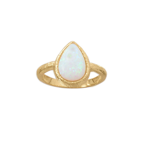 14 Karat Gold Plated Textured Pear Synthetic Opal Ring - LazerPoints.com