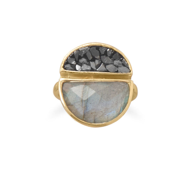 14 Karat Gold Plated Labradorite and Diamond Chips Ring - LazerPoints.com