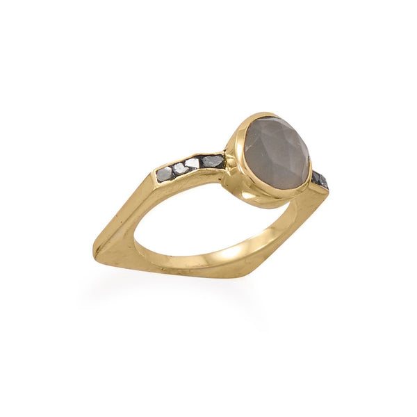 14 Karat Gold Plated Grey Moonstone and Diamond Chips Ring - LazerPoints.com