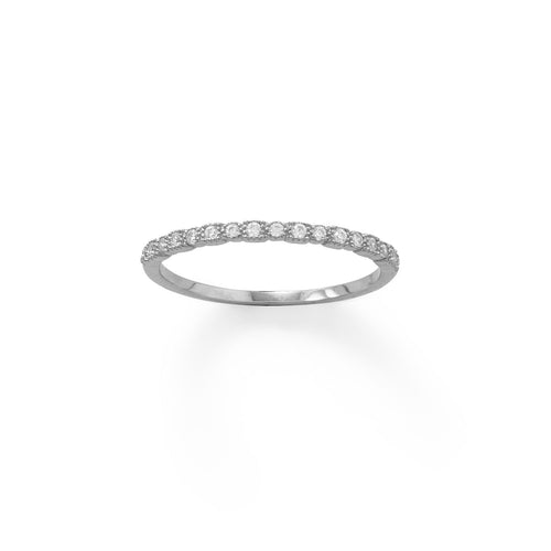 Rhodium Plated Thin CZ Ring