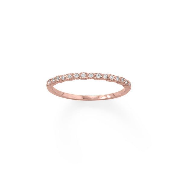 14 Karat Rose Gold Plated Thin CZ Ring - LazerPoints.com