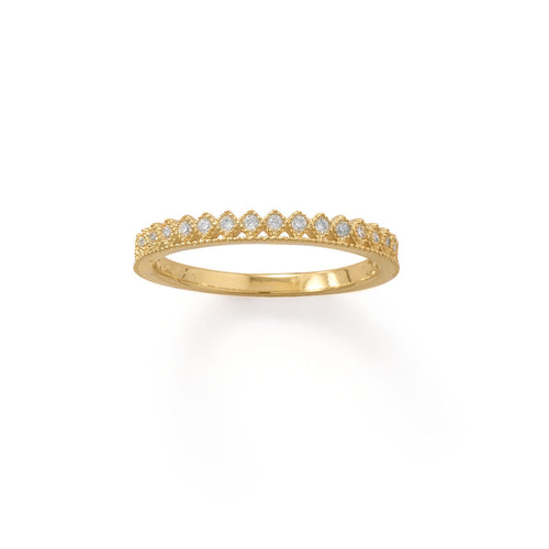14 Karat Gold Plated CZ Thin Crown Design Ring - LazerPoints.com