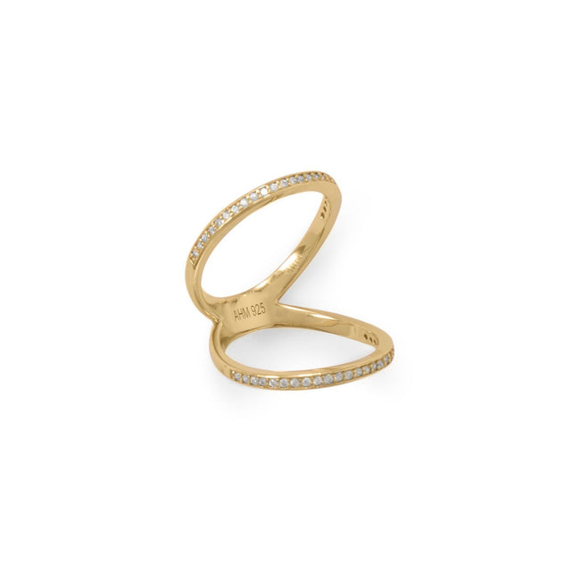 14 Karat Gold Plated CZ Double Band Knuckle Ring - LazerPoints.com