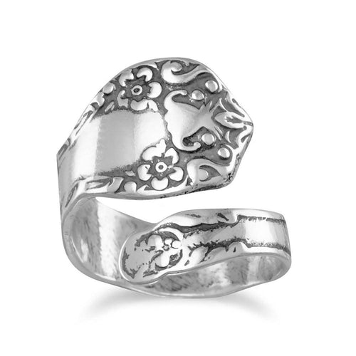 Oxidized Floral Spoon Ring - LazerPoints.com