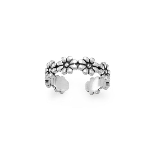 Oxidized Flower Toe Ring - LazerPoints.com