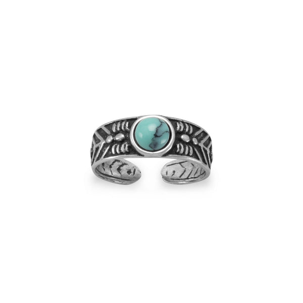 Oxidized Toe Ring with Simulated Turquoise - LazerPoints.com