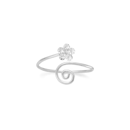 Wrap Design Toe Ring with Clear Crystal Flower - LazerPoints.com