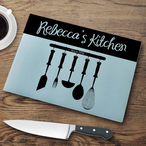 Personalized Glass Cutting Board - Utensils - LazerPoints.com